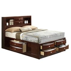 Shop for Linda Queen-size Merlot Storage Bed. Get free shipping at Overstock.com - Your Online Furniture Outlet Store! Get 5% in rewards with Club O!