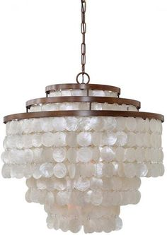 Townsend Chandelier - Chandelier - Coastal Chandelier - Capiz Shell Chandelier - Entryway Chandelier - Dining Room Chandelier - Dining Table Chandelier | HomeDecorators.com