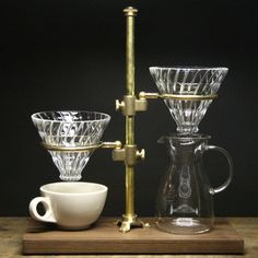 BRASS & WALNUT COUPLE POUR-OVER COFFEE STAND | MONOCO