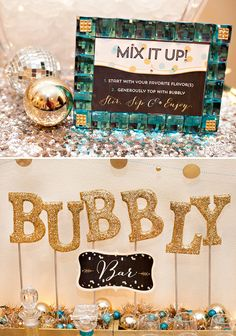 Recreate this look by spelling BUBBLY with our #burtonandburton gold #megaloons!