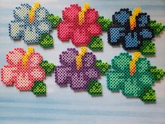 Set of 6 Hibiscus Perler Bead Magnets Easy Perler Bead Patterns, Melty Bead Patterns, Perler Bead Templates, Diy Perler Beads, Perler Bead Art, Beading Patterns, Perler Bead Designs, Hamma Beads Ideas, Melty Beads Ideas