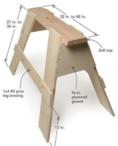 """Sawhorses are a staple of virtually every job site and are called on to assist in a variety of tasks. In this """"Building Skills"""" article, associate editor Patrick McCombe describes his quick process for making a pair of sawhorses. Costing $50 in materials and requiring 90 minutes to build, these horses are made of a 2x8 top, 1x8 legs, 1x4 bracing, and 3/4-in. plywood gussets. While these sawhorses can be built with only a circular saw, a tablesaw and sliding miter saw make the p..."""