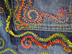 Custom Embroidery Beading on Your Jeans door JaneCohenArtfulBags