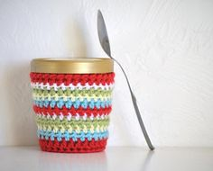 Ice Cream Cozy Pint Cover Sleeve  Striped by AllThingsGranny - brilliant <3