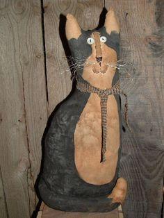 primitive folk art tuxedo cat doorstop mailed pattern