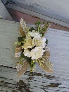 Ivory Cream Corsage of Sweetheart Roses with by FlowersbyMaisieMae