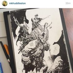 """Please take a look at my dear old buddy Mike Huddleston  @mkhuddleston who's been killin' it lately with inks and pencils. It is beautiful witnessing…"""