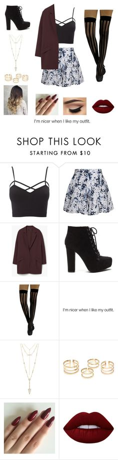 """""""Untitled #79"""" by heresnana on Polyvore featuring Charlotte Russe, Olive + Oak, MANGO, House of Harlow 1960, Lime Crime and plus size clothing"""
