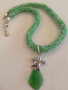 Green seaglass with kumihimo rope