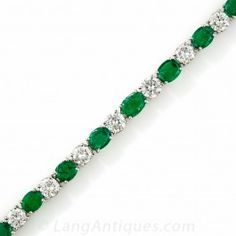 Straight Line Emerald and Diamond Bracelet - Everything - Vintage Jewelry