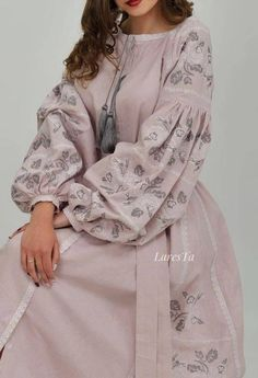 Dramatic sleeves dusty rose linen Bohemian dress, comfortable for maternity and nursing, linen embroidered kaftan dress in Vyshyvanka style – Hijab Fashion 2020 Pakistani Fashion Casual, Pakistani Dresses Casual, Indian Fashion Dresses, Pakistani Dress Design, Indian Designer Outfits, Abaya Fashion, Muslim Fashion, Designer Dresses, Fashion Outfits