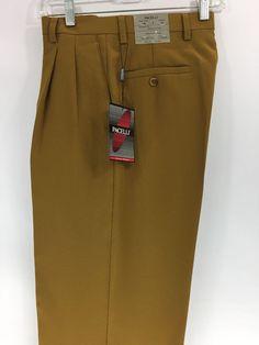 Men's Gold Dress Pants 2-Pleats with Cuff Hem Polyester Pacelli Pierce 28 - 36 #Pacelli #DressPleat