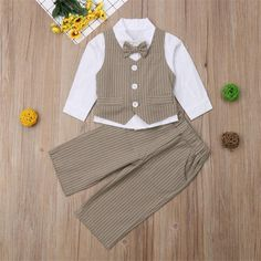 Fashion gentleman soft cotton long sleeve bow-tie shirt vest and trousers, which will make your kids look cool and attractive.