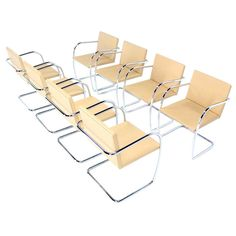 Set of 8 Knoll Mies Brno Chairs Bauhaus Mid Century Modern | From a unique collection of antique and modern chairs at http://www.1stdibs.com/furniture/seating/chairs/