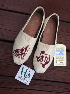 a353c22a3a Aggies Custom Shoes on Toms or Vans Authentic by HJartistry on Etsy