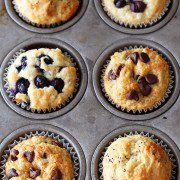 2 cups (254 g) all-purpose flour ½ cup granulated sugar ½ teaspoon fine salt 1 tablespoon baking powder 1 cup whole milk ¼ cup vegetable oil 1 large egg Preheat the oven to 400°F. Line a standard muffin tin with paper liners or coat with nonstick cooking spray (or both). In a large bowl combine the flour, sugar, salt, and baking powder. In a liquid measuring cup beat together the milk, oil, and egg. Pour into the dry ingredients and stir JUST until combined, do not overmix. 20 Minutes