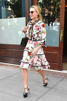Best Celebrity  Summer Street Style: Margot Robbie; Robbie's flirty Gucci dress ups the ante with tiered layers for extra movement while she's on the go.