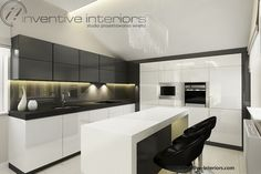 Projekt kuchni Inventive Interiors - biało-szara kuchnia z wyspą i szarym lacobelem na ścianie