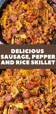 Delicious Sausage, Pepper and Rice Skillet | Food Dinner Recipes | Food Recipes | Dinner Recipes | Dinner Ideas