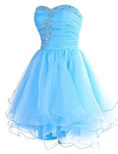 Blue Sweetheart Short Organza A Line Homecoming Cocktail Dress Cwb0440