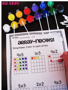 Multiplication made fun with these hands on arrays activities and math centers like array-nbows! Maths 3e, Multiplication Activities, Math Activities, Array Multiplication, Numeracy, Math Games, Multiplication As Repeated Addition, Array Math, Subitizing