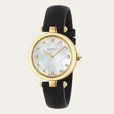 Gucci Women's Swiss Diamantissima Black Leather Strap Watch – Black - My Fashion World 2019 Gucci Watches For Men, Luxury Watches, Ladies Watches, Fashion Watches, Fashion Men, Daily Fashion, High Fashion, Luxury Fashion, Fashion Tips