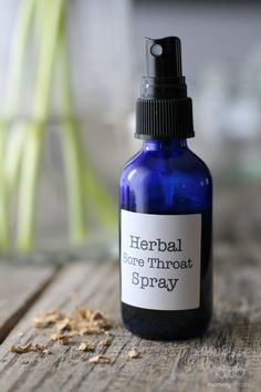 Herbal Sore Throat Spray Recipe - Soothes and coats sore throats with a mixture of herbs and honey. #sorethroatremedies #sorethroatremedy