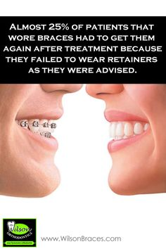 Orthodontic Fact #1 Almost 25% of patients that wore braces had to get them again after treatment because they failed to wear retainers as they were advised. #retainers #braces #teeth #perfectsmile #straightteeth    Wilson Orthodontics 1220 Sherwood Park Drive, NE Gainesville, GA 30501Tel: 678-971-2461 Fax: (770) 531-0158