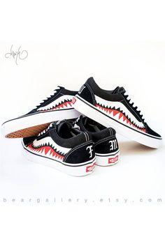 Custom Bape Vans Shoes with Initials - Hand Painted Shark Teeth - Old  Skools with Teeth Painting and Initials on Heels - Bape Old Skools 353681b31