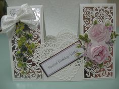Handmade Happy Birthday Stepper Card Tattered Lace