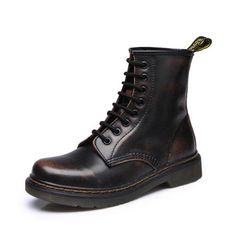 DONGNANFENG Women's Female ladies woman Ankle Boots Shoes Winter Spring Cow Genuine Leather Lace Up Shoes Punk Plus fur warm casual Riding Equestr Botas Mujer Plus Size 43 44 High Top Boots, Low Heel Boots, Leather Heeled Boots, Leather And Lace, Shoe Boots, Low Heels, Black Leather, Cow Leather, Combat Boots Look