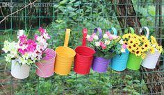 Metal Iron Balcony Flower Pot Hanging Garden decoration flower holder for Plant Planter Home Decor pots