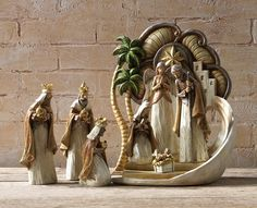 8 Piece Contemporary Nativity Set Wood look ivory tones with gold accents made of resin includes Jesus Mary Joseph 3 Kings and Bethlehem Backdrop largest piece measures 14 and 1 half inches tall Christmas Nativity Scene, A Christmas Story, Christmas Lights, Christmas Diy, Christmas Decorations, Xmas, Modern Nativity Set, Nativity Sets, Art Nouveau Disney