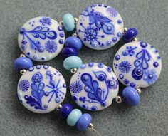 Simple pleasures Lampwork bead set by Pixie Willow Designs, via Etsy.