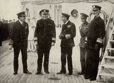 King George V and his son the Prince of Wales visiting the Grand Fleet in 1918. From left to right: Admiral David Beatty, RN; Rear Admiral Hugh Rodman, USN; King George V; Prince of Wales; Vice Admiral William S. Sims, USN