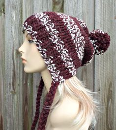 Burgundy and Cream Slouchy Pom Pom Hat - Burgundy Hat Burgundy Beanie Slouchy Hat Slouchy Beanie  Winter Hat Womens Hat - READY TO SHIP by pixiebell on Etsy