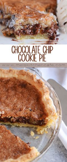 This chocolate chip cookie pie might be the easiest, most delicious pie you'll ever make. Rich, ooey gooey, decadent and SO easy to make!