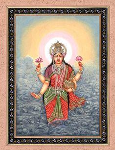 Goddess Lakshmi with Wealth Pot Rising from Ocean