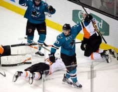 San Jose Sharks forward Matt Nieto stands tall after scoring the game winning goal with 11 seconds left in the third period (Dec. 2, 2014).