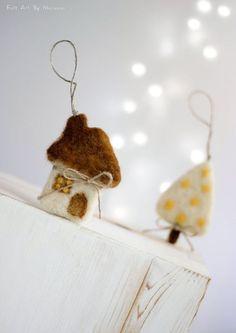 Needle Felt Cottage Christmas Ornaments Set by FeltArtByMariana: