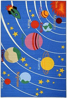 Kids Educational Galaxy Planets Stars Blue x Children's Fun Area Rug Kids Area Rugs, Blue Area Rugs, Stairs With Glass Panels, Robot Nursery, Baby Playroom, Playroom Ideas, Outer Space Decorations, Galaxy Planets, Childrens Rugs