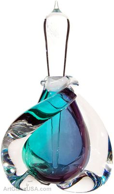 Buzz Blodgett Swirl glass perfume bottle, Blue multi. @designerwallace