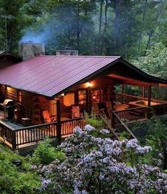 Cabins And Cottages: Now I could do this Tiny House log cabin, and I do not really like log cabins! But, porches make everything better. Cabin Plans, House Plans, Log Cabin Homes, Log Cabins, Small Log Cabin, Small Cabins, Cozy Cabin, Little Cabin, Cabins And Cottages