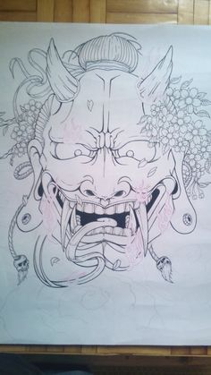 hannya mask line by on DeviantArt Japanese Demon Tattoo, Japanese Sleeve Tattoos, Hannya Mask Tattoo, Oni Mask, Dibujos Tattoo, Desenho Tattoo, Japanese Drawings, Japanese Tattoo Designs, Tiki Tattoo