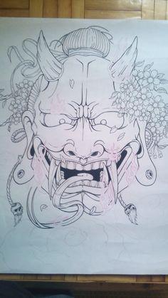 hannya mask line by tonywave33 on DeviantArt