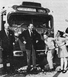 """""""If you were taking the bus from Los Angeles to Disneyland in 1956, you might have taken a ride on the """"Snow White"""" bus, which was painted and decorated with Disney photographs, and even christened by Walt Disney himself. Via Vintage Disneyland Tickets."""""""