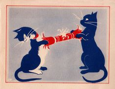 Cats in Art and Illustration: 1930s Cats Pulling The Christmas Cracker British Greetings Card