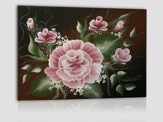 acrilico su cartoncino telato 24x18 cm - rosa e boccioli su sfondo marrone scuro