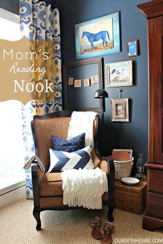 Navy blue and brown/cream color scheme master. I especially like this little reading corner. She also has some great organizing tips for how to utilize every inch of space for storage.