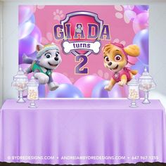 Paw Patrol Birthday Banner/Backdrop, Skye and Everest Birthday Party Decor, Pink Backdrop, Balloons Backdrop, Printed or Printable File - Balloon Decorations 🎈 Pink Backdrop, Balloon Backdrop, Banner Backdrop, Birthday Backdrop, Balloons, Girl Paw Patrol Party, Sky Paw Patrol, Paw Patrol Birthday Girl, Paw Patrol Party Decorations